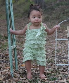 Love this Vintage Green Lace Ruffle Romper - Infant & Toddler by Diva Daze on #zulily! #zulilyfinds