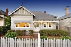 Light grey and white colour scheme. I love the picket fence