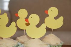 Yellow Ducks Baby Shower Cupcake Toppers set of by LifeofWhimsea