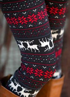 Winter Christmas Deer Snowflake Print Skinny Leggings