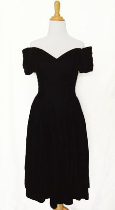 2a07f088ad3 80s Prom Dress Black Velvet Off the Shoulder by ShopCheekyCheeky Black Prom  Dresses