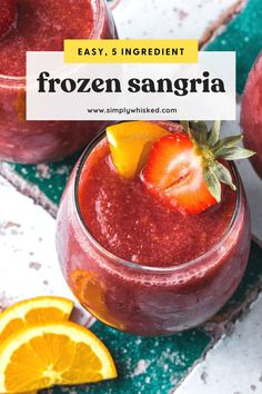 These refreshing, frozen sangria wine slushies are made with a red wine, peach and strawberry, and blended with orange juice and triple sec for some added sweetness. Best Sangria Recipe, Sangria Recipes, Drinks Alcohol Recipes, Yummy Drinks, Margarita Recipes, Drink Recipes, Alcoholic Drinks, Beverages, Dinner Recipes