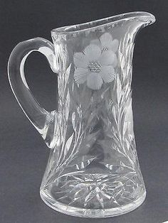 Up for auction is this cut glass pitcher It is high by in diameter at base and weighs lbs It is in good condition free of any chips cracks or cloudiness. Handle is free of heat cracks. Antique Glassware, Crystal Glassware, Crystal Vase, Carafe, Decanter, Cut Glass, Glass Art, Clear Glass, Crystal Awards