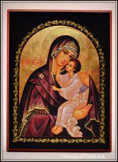 """Orthodox Icon ~ Mother of God, Lovingkindness~ Icon Print Mounted on Wood Product Description Mother of God, Lovingkindness (black border), medium icon Mounted on 5/8"""" wood with beveled, dark red edge"""