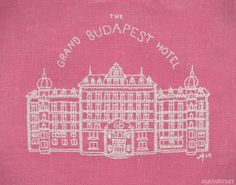 """""""The Grand Budapest Hotel"""" by Alicia Sivertsson, 2014. Free hand embroidery with thrifted fabric and yarn. ~18 x 22 cm."""