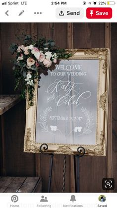 Ornate gold framed acrylic wedding welcome. Custom wedding signs, personalized for your unique wedding day. Perfect with floral garlands! Wedding Events, Wedding Ceremony, Wedding Day, Wedding Entrance Table, Wedding Arbors, Card Box Wedding, Wedding Pins, Cheap Wedding Flowers, Wedding Bouquets