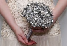 Beautiful silver wedding bouquet