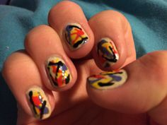 Aimed for Jackson Pollack nails, ended up more like cut price Kandinsky...