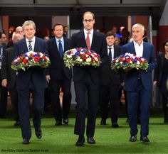 hrhduchesskate:  Exhibition Match Between England and France, November 17, 2015-The Duke of President, President of the Football Association, with England Manage Roy Hodgson and French Manager Didier Deschamps, carry wreaths to mark the Paris attacks