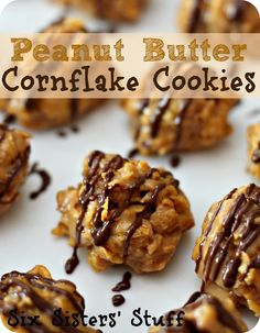 No-Bake Peanut Butter Cornflake Cookies- these little balls-of-goodness are so addicting! SixSistersStuff.com only thing I would change, make bars and only heat up the mixture don't full boil it it'll get crunchy, don't let it boil