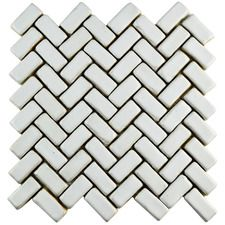 "Greenwich 0.875"" x 2.875"" Herringbone Ceramic Tile in White"