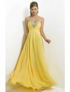 A line Sweetheart Chiffon with Beading snd Sequins Yellow Prom Dress - Prom Dresses - Special Occasion Dresses $132