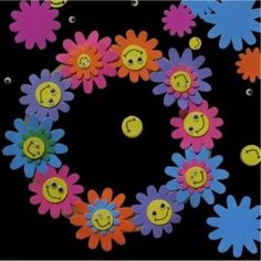 smiley flower craft foam wreath