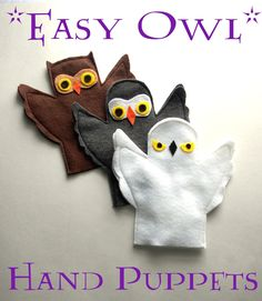 Easy Owl Hand Puppets with printable template.  Pinned by www.myowlbarn.com