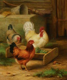 Edgar Hunt (1876-1953) — Poultry Feeding in a Barn, 1911  (835×1000)
