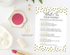 Get the party started with fun 'What's in your phone' game! This game is the perfect ice breaker for any bridal shower or bachelorette party. #printable #bridalshower #bridalshowergames #bridalgames #bridalshowerstationery #bridalstationery #bachelorette #bachelorettegames #bachelorettepartygames #SHdesigns