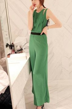 Elegant Pleated  Solid Green ChiffonStraight Jumpsuits
