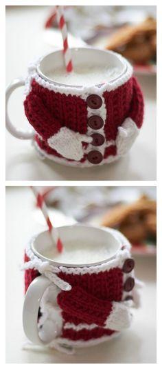 Santa Suit Mug Cosy Free Knitting Pattern
