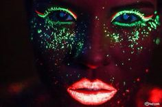 Girl with neon green Eye Makeup & neon pink lipstick
