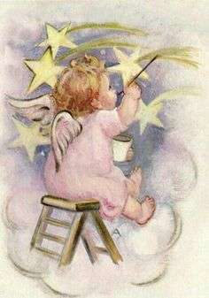 Vintage Christmas Card Little Angel Painting Stars Images Victoriennes, Angel Images, Angel Pictures, Vintage Greeting Cards, Vintage Christmas Cards, Vintage Postcards, Christmas Angels, Christmas Art, Christmas Paintings