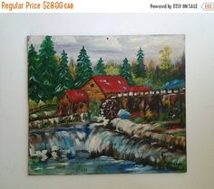 Very nicely done original oil painting of an old mill amongst the trees and waterfalls. It is signed Robison 1978  It measures approx. 13 x 12 and is painted on thin pressed board.  As can be seen in photo # 4 there is a very small smudge mark in the top left corner as well as a screw hole in the top centre. If this painting was properly framed both of these issues could go away.   ***** All reasonable offers on multiple items will be considered. Please review all shipping policies before…
