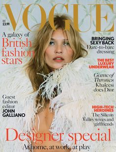 Magazine Cover: Kate Moss Stuns in McQueen for Vogue UKs December 2013 Cover