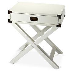 Edin Campaign Side Table, White