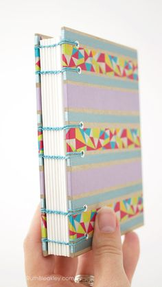 Washi Tape Journal, Handmade Coptic Stitch Blank Book by Ruth Bleakley