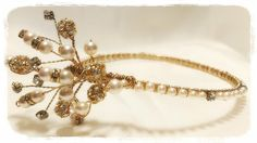 Back to front #tiara....Ideally worn around a hair up style like a high bun. Made on a #gold base with #cream #pearls & #diamantes... #Pearls & diamantes go all around the band... #wedding #bridal #bride #hairaccessory