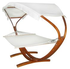 Wooden Arc Hammock Stand With Canopy