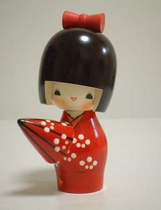 Kokeshi Doll with Umbrella (Amayadori)