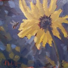 """Daily Paintworks - """"Magnetic Personality Bumble Bee Sunflowers Impressionism Oil Painting"""" - Original Fine Art for Sale - © Heidi Malott"""
