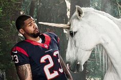 "Texans star Arian Foster is ESPN The Magazine's cover boy for their fantasy football issue, but more importantly he got to take pictures with a ""unicorn."" So now everyone has another ..."