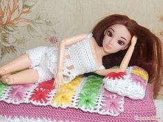 Одежда для кукол крючком. Пижама.