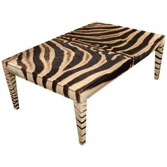 Very handsome coffee table in vintage zebra hide, trimmed in small nailheads. Painted Furniture, Modern Furniture, Building Furniture, Furniture Design, African Interior Design, African Furniture, Coffee Cocktails, Oh Deer, Furniture Inspiration