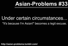 "under ALL circumstances ""It's because I'm Asian"" is a valid excuse Funny Asian Memes, Asian Jokes, Asian Humor, Funny Jokes, Funny Pics, Hilarious, Asian Problems, Desi Problems, Girl Problems"