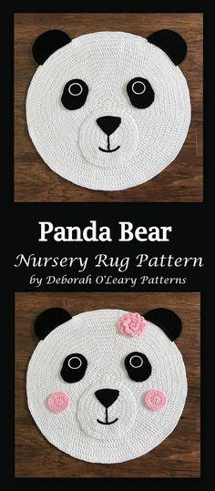 Crochet Panda Bear Nursery Rug Pattern by Deborah O'Leary Patterns #crochet #patterns #nurserydecor #rug