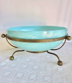 Mid Century Hazel Atlas Turquoise bowl with metal stand, 1950s Atomic Age Spaghetti String Drizzle Salad Bowl, Jackpot Jen vintage by JackpotJen on Etsy