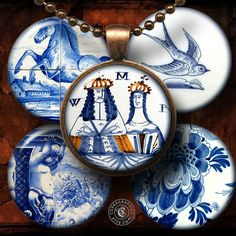 Delftware Pottery  1.5 1.25 30mm 1.06 25mm  by CobraGraphics, $4.20