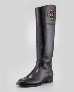 Tory Burch - Kiernan Leather Logo Riding Boot, Black