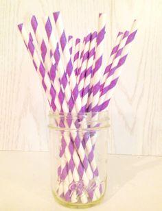 Purple Striped Paper Straws
