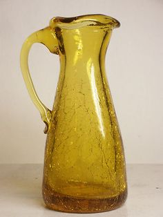 Vintage Kanawha Amber Crackle Glass Cruet Pitcher Applied Handle Triangle Vase