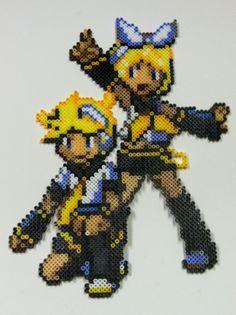Perler Bead: Rin & Len Vocaloid by thewiredslain on deviantart