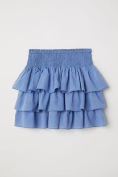 Cotton chambray skirt with smocking at waist and tiered flounces with overlocked edges. Cute Skirt Outfits, Cute Lazy Outfits, Kids Outfits Girls, Cute Skirts, Girl Outfits, Teenager Outfits, Curvy Fashion, Kids Fashion, Blue Fashion