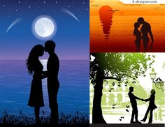 4-Designer | Romantic couple figure silhouette vector material