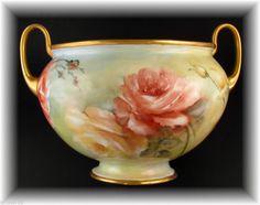 Rare Germany Gerold Hand Painted  Porcelain Jardiniere Ferner Vase Roses Signed  #GeroldPorzellan