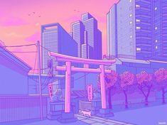 Roppongi Light Duvet Cover by Surudenise - Queen: x Aesthetic Japan, Purple Aesthetic, Aesthetic Art, Aesthetic Pictures, Aesthetic Anime, Aesthetic Desktop Wallpaper, Anime Scenery Wallpaper, Aesthetic Backgrounds, Anime City