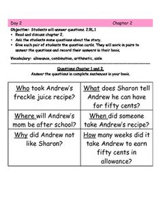 Printables Freckle Juice Worksheets comprehension freckle juice and freckles on pinterest free 20 page unit aligned to the common core