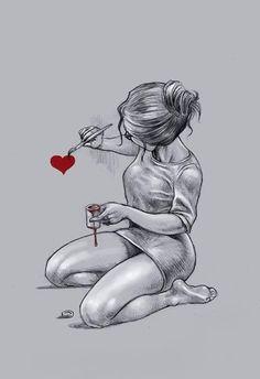 Metallfee Hof Kunst, - Famous Last Words Dark Art Drawings, Girly Drawings, Pencil Art Drawings, Cool Drawings, Girl Drawing Sketches, Drawing Ideas, Pencil Portrait, Portrait Art, Anime Art Girl
