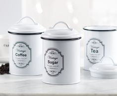 Ensure a clean and efficient cooking space and find a place for everything with our selection of stylish kitchen storage solutions. Vintage Canister Sets, Kitchen Storage Solutions, Pantry Storage, Stylish Kitchen, Style Retro, Food Storage Containers, Cleaning, Coffee, Tableware